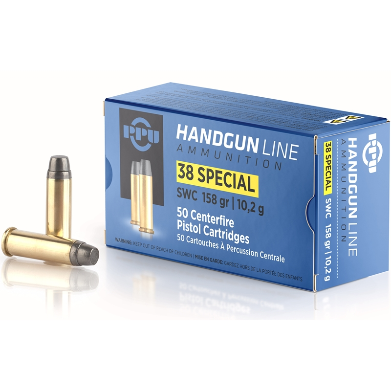 Prvi Partizan Handgun 38 Special Ammo 158 Grain Semi-Wadcutter Hollow Point