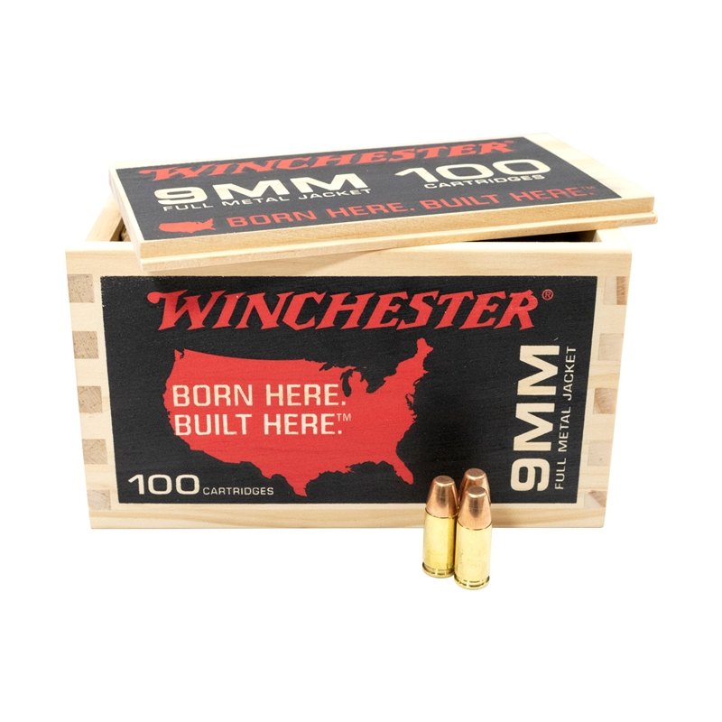 Winchester USA 9mm Luger Ammo 115 Grain FMJ Flat Nose 100 Rounds Limited Edition