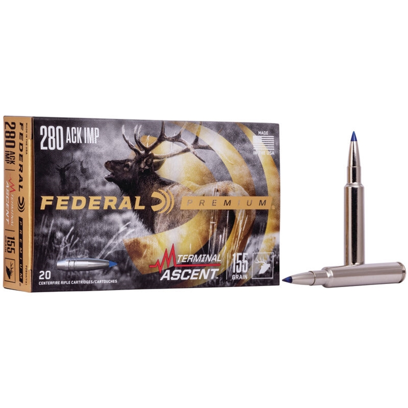 Federal 280 Ackley Improved Ammo 155 Grain Terminal Ascent