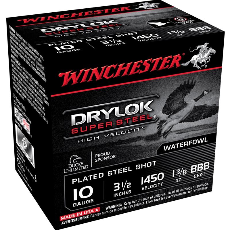 "Winchester Drylock 10 Gauge Ammo 3.5"" 1-3/8oz BBB Steel Shot"
