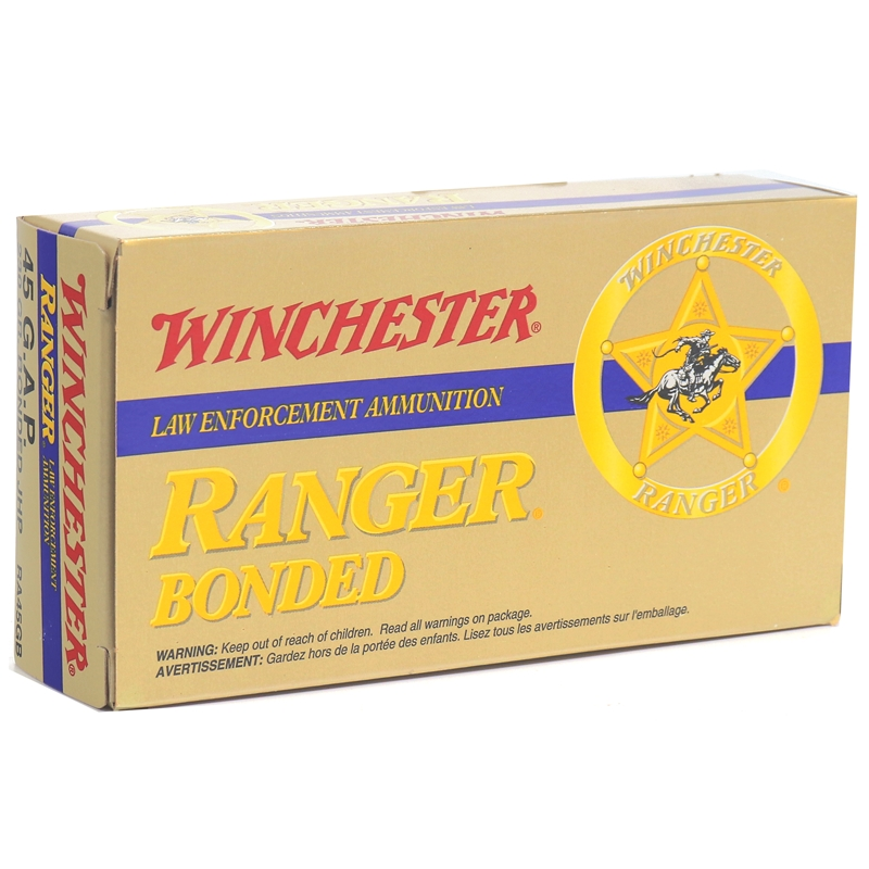 Winchester Ranger USA 45 GAP Ammo 230 Grain Bonded Jacketed Hollow Point