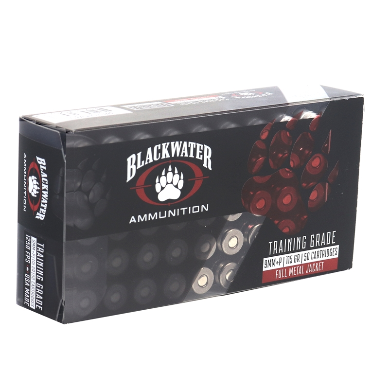 Blackwater Ammunition Training Grade 9mm Luger Ammo 115 Grain +P Full Metal Jacket