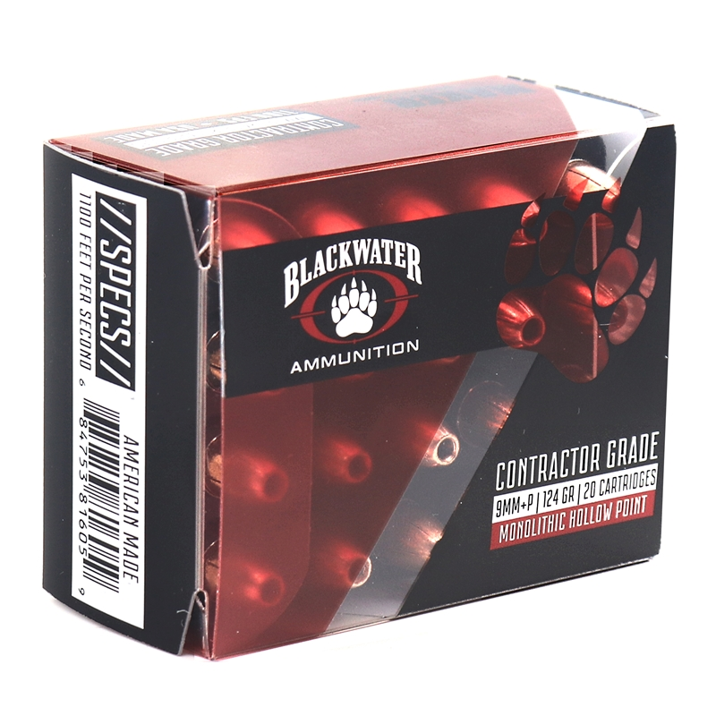 Blackwater Ammunition Contractor Grade 9mm Luger Ammo 124 Grain +P Monolithic Hollow Point