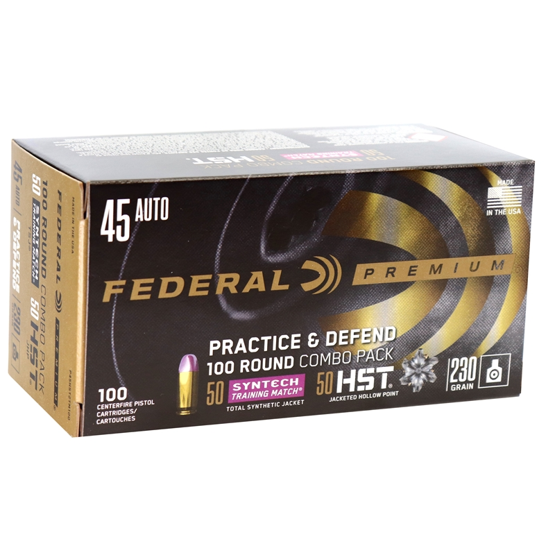 Federal Practice & Defend 45 ACP AUTO Ammo 230 Grain HST TSJ