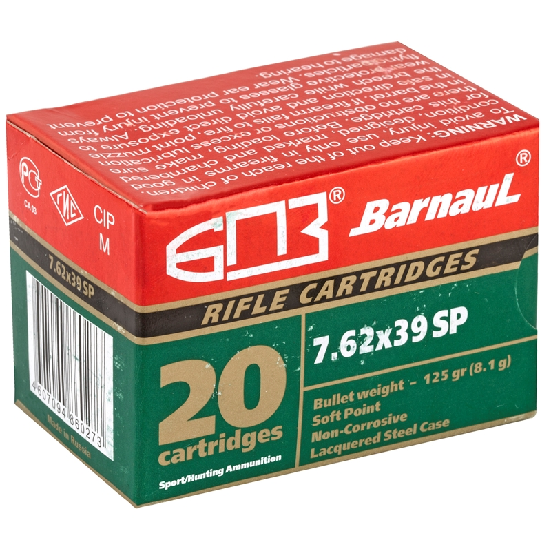 Barnaul 7.62x39mm Ammo 125 Grain Soft Point Steel Lacquered Case