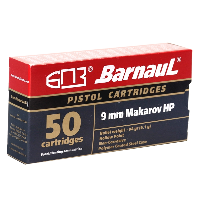 Barnaul 9mm Makarov Ammo 94 Grain Hollow Point Steel Case