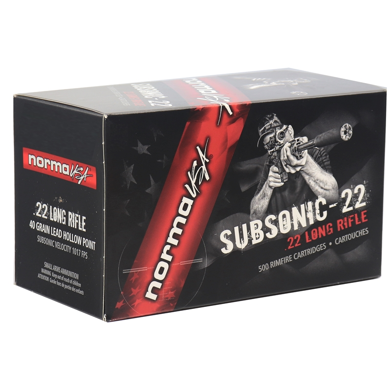 Norma USA Subsonic-22 Ammo 22 Long Rifle Ammo 40 Grain Lead Hollow Point