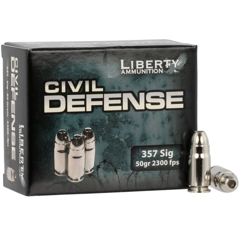 Liberty Civil Defense 357 Sig Ammo 50 Grain Fragmenting Hollow Point Lead-Free