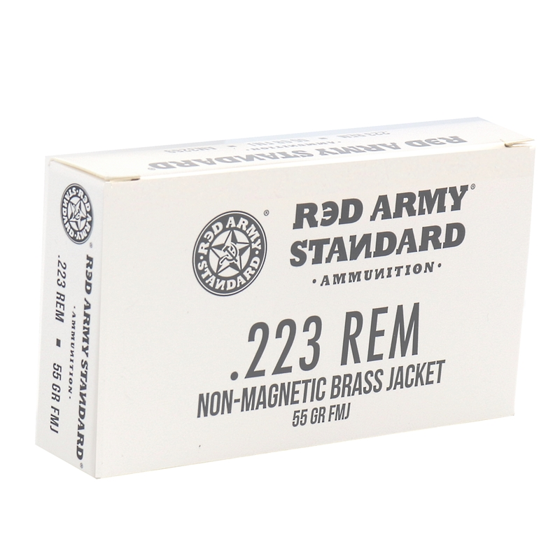 Red Army Standard 223 Remington Ammo 55 Grain Non-Magnetic Brass Jacket