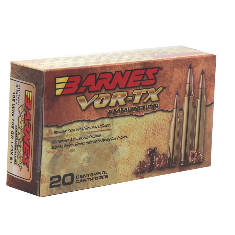 Barnes VOR-TX 308 Winchester Ammo 168 Grain TTSX Polymer Tipped Spitzer Boat Tail Lead-Free