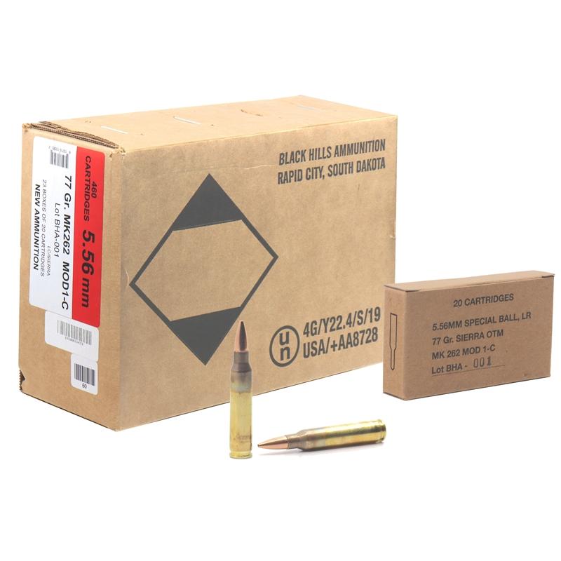 Black Hills 5.56mm MK262 Mod 1 Ammo MOD 1 - C 77 Grain OTM