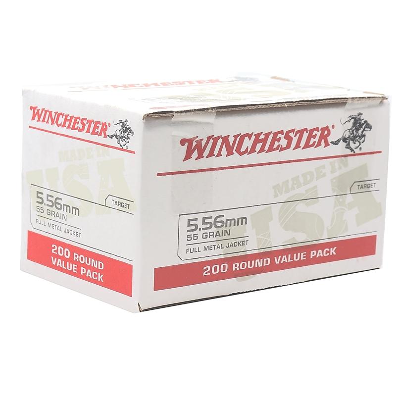 Winchester USA 5.56x45mm NATO Ammo 55 Grain FMJ Value Pack 200 Rounds