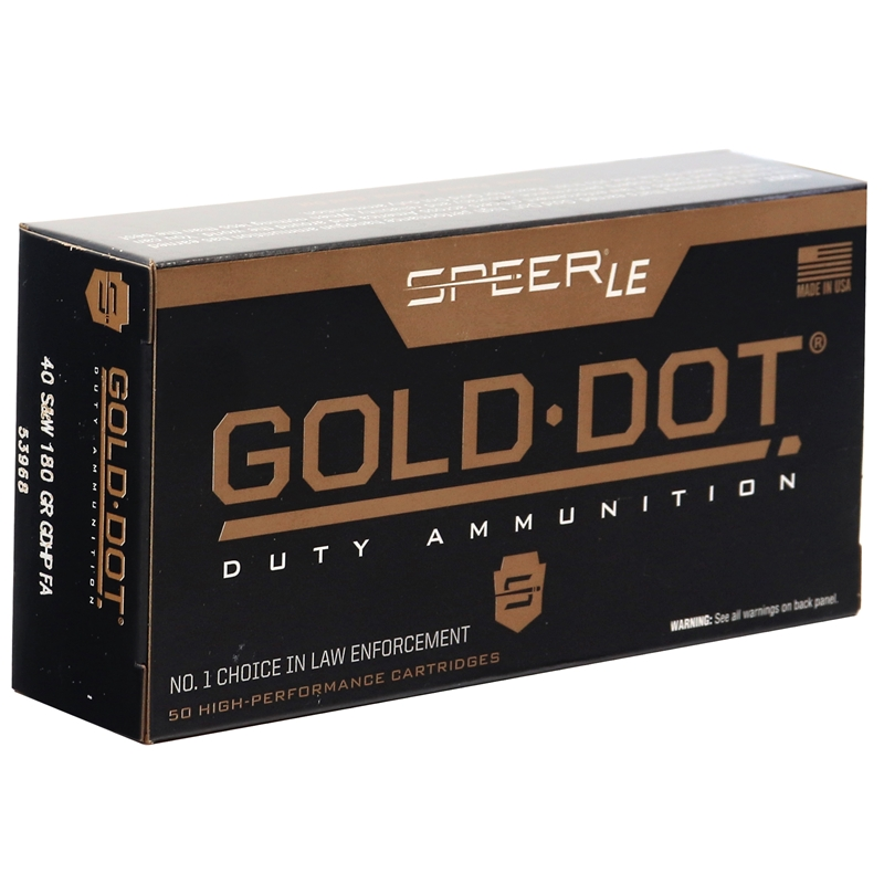 Speer Gold Dot LE Duty 40 S&W Ammo 180 Grain Jacketed Hollow Point FA