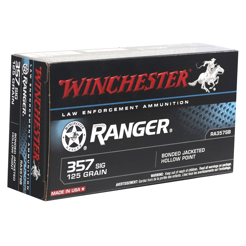 Winchester Ranger 357 SIG 125 Grain Bonded Jacketed Hollow Point