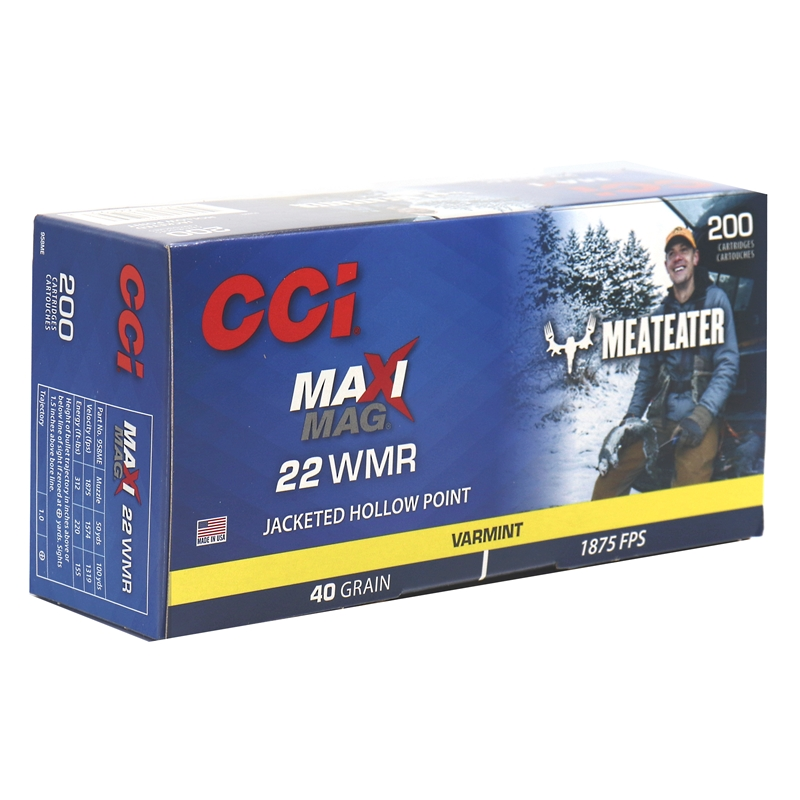 CCI Maxi-Mag MeatEater Special Edition 22 WMR Ammo 40 Grain Jacketed Hollow Point
