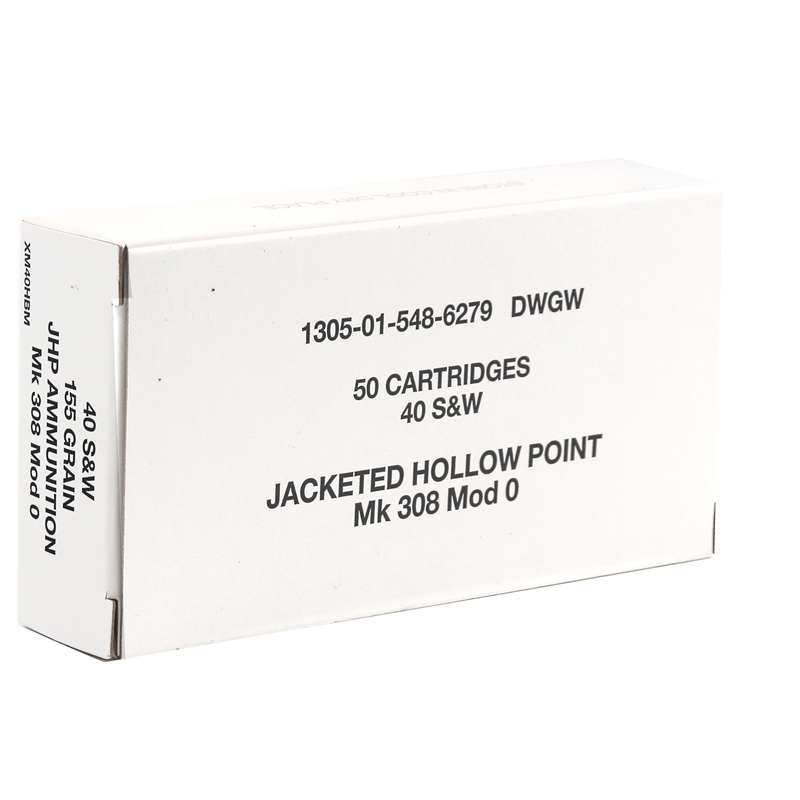 Federal Lake City 40 S&W Ammo MK 308 MOD 0 Ammo 155Grain Jacketed Hollow Point