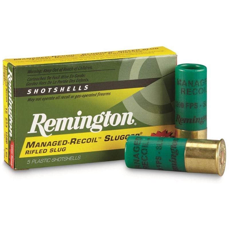 "Remington Slugger Managed-Recoil 12 Gauge Ammo 2-3/4"" 1oz. RS"