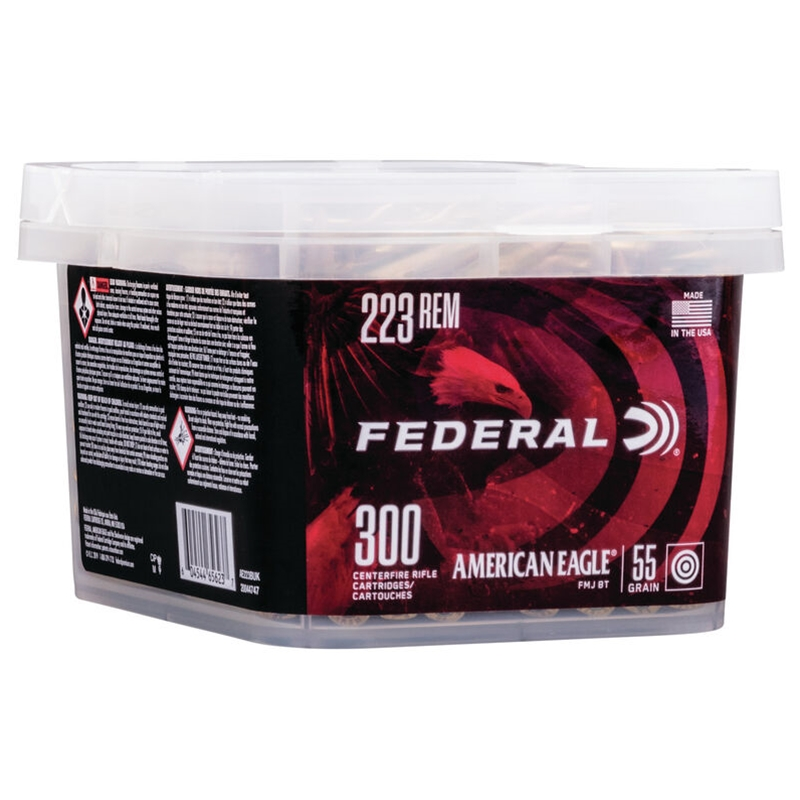 Federal American Eagle 223 Remington Ammo 55 Grain Full Metal Jacket 300 Rounds Bucket