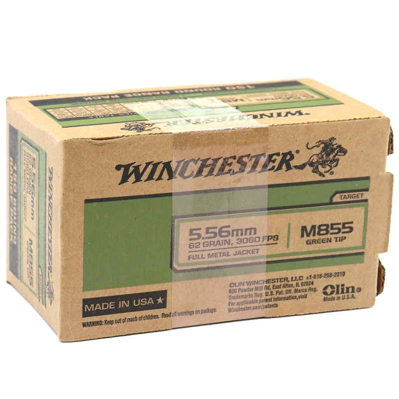 Winchester 5.56mm M855 NATO Ammo 62 Grain Green Tip FMJ 150 Rounds Value Pack