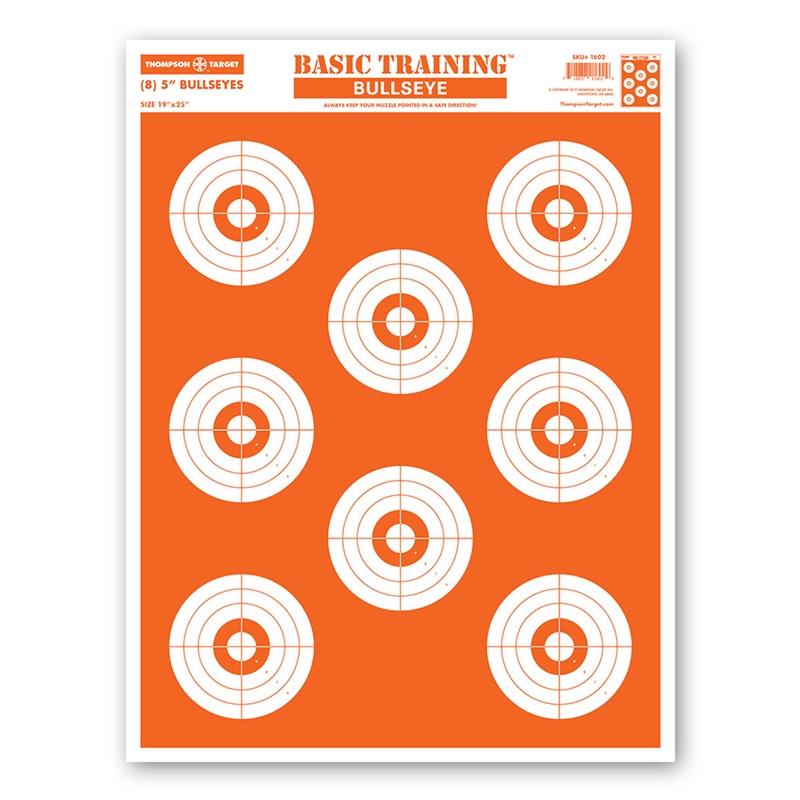 "Thompson Target Basic Training Bullseye Economy Paper Shooting Targets - 19""x25"" 50 Pack"