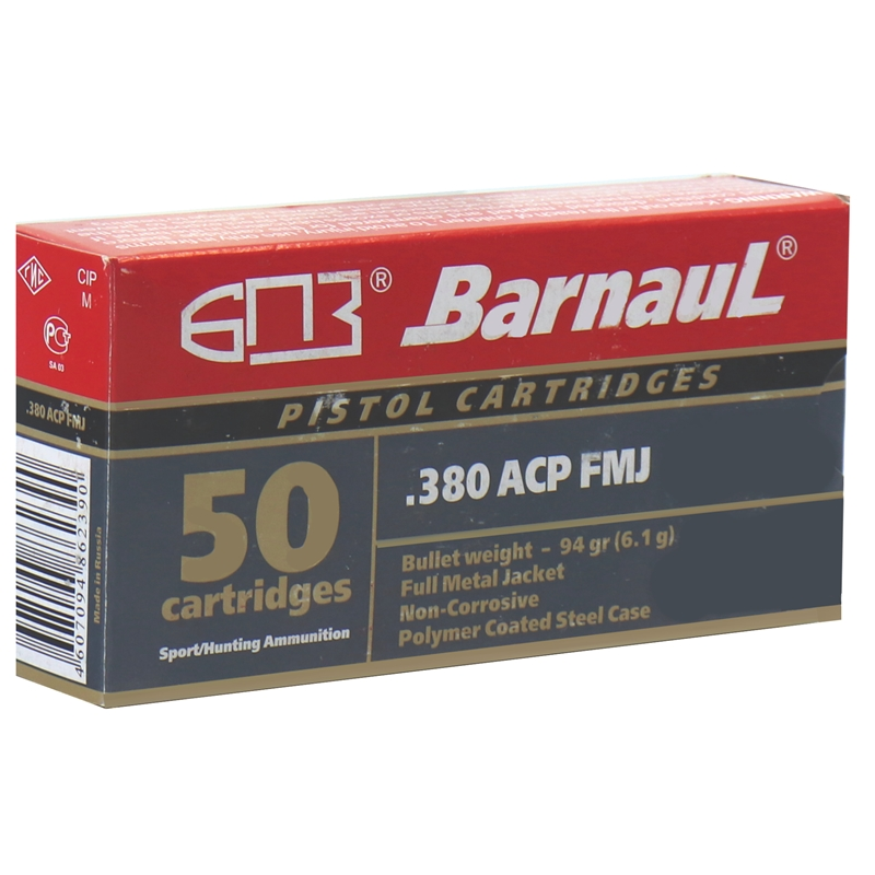 Barnaul 380 ACP Auto Ammo 94 Grain Full Metal Jacket Polycoated Steel