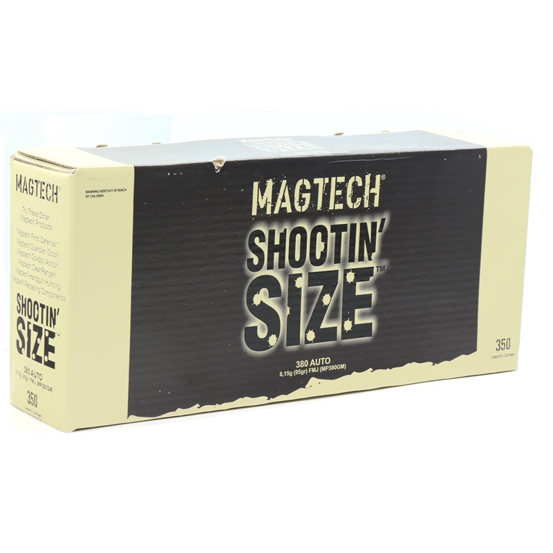 Magtech Shootin' Size 380 ACP AUTO Ammo 95 Grain Full Metal Jacket 350 Rounds