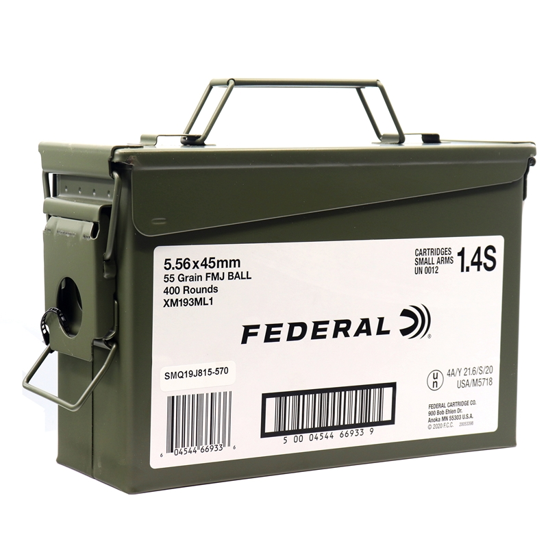 Federal American Eagle 5.56x45mm XM193 Ammo 55 Grain FMJ 400 Rounds in Ammo Can