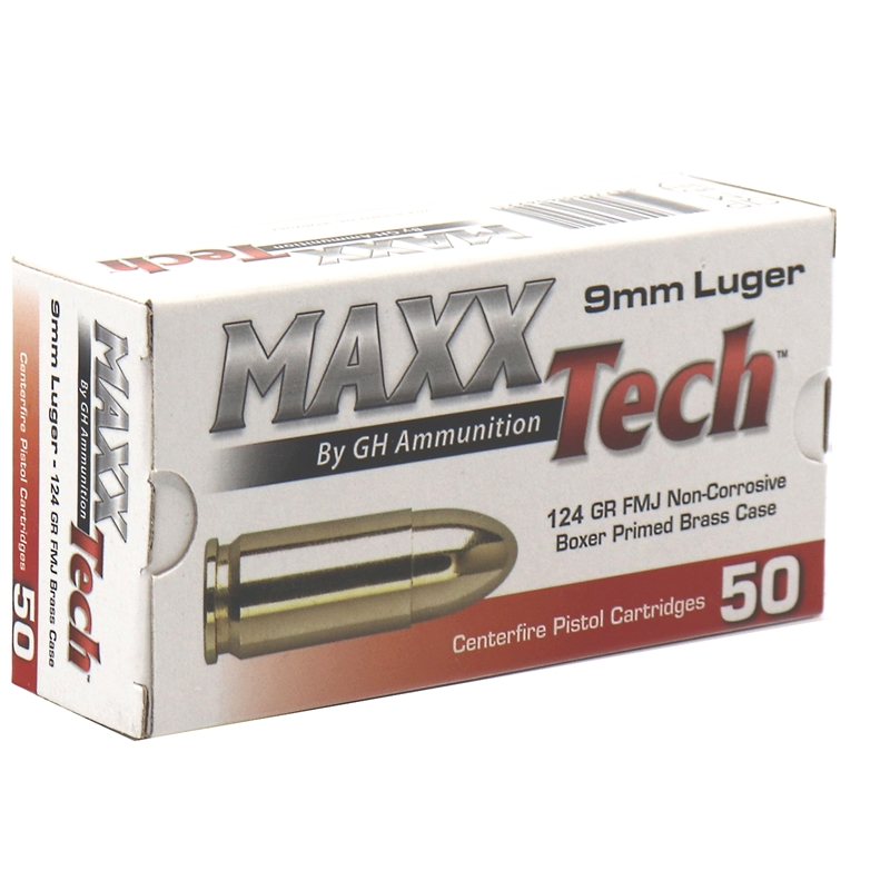 Tula Maxxtech 9mm Luger Ammo 124 Grain Ammo Full Metal Jacket