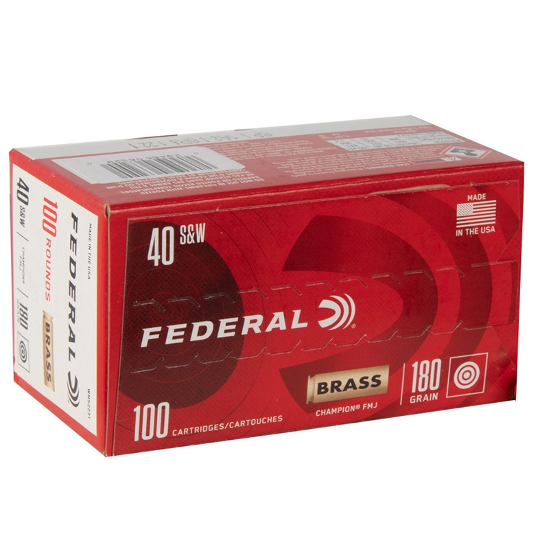 Federal Champion Target 40 S&W Ammo 180 Grain Full Metal Jacket 100 Rounds