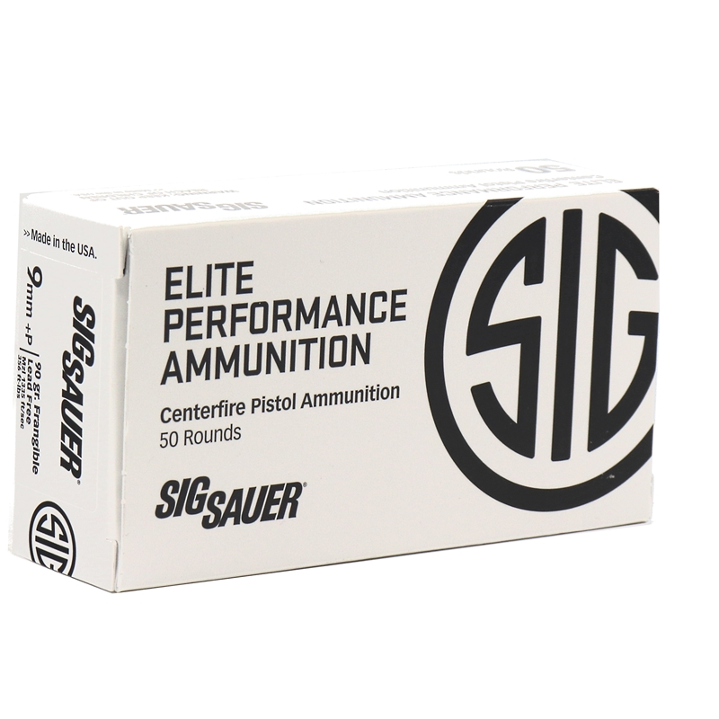Sig Sauer Elite Performance Training 9mm Luger Ammo 90 Grain +P FRANGIBLE Lead Free