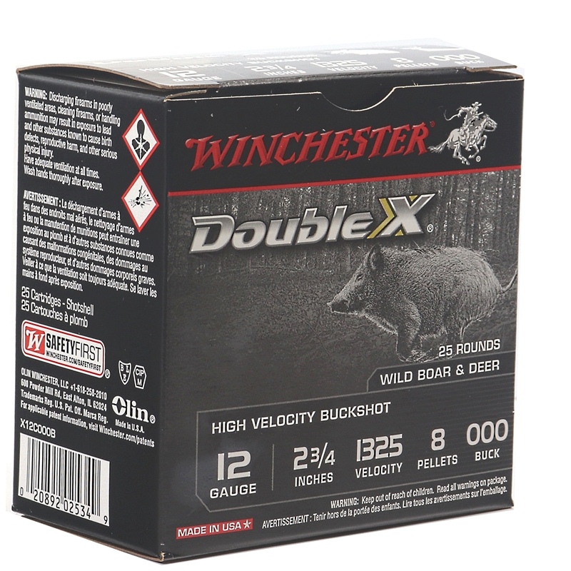 "Winchester Double X 12 Gauge Ammo 2 3/4"" 2.75""  000 Buck Shot 8 Pellets"