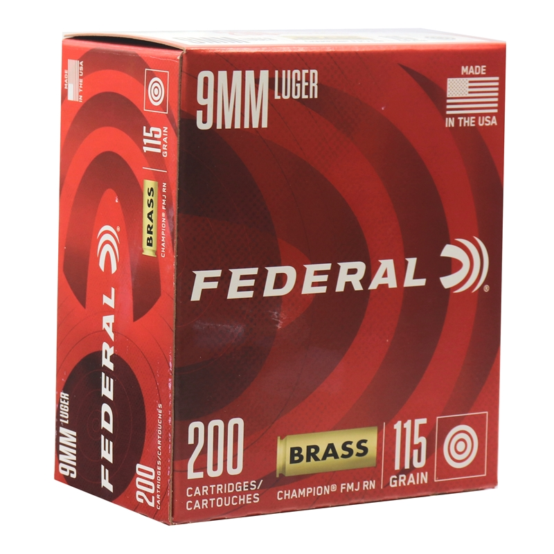 Federal Champion 9mm Luger Ammo 115 Grain FMJ 200 Rounds Value Pack