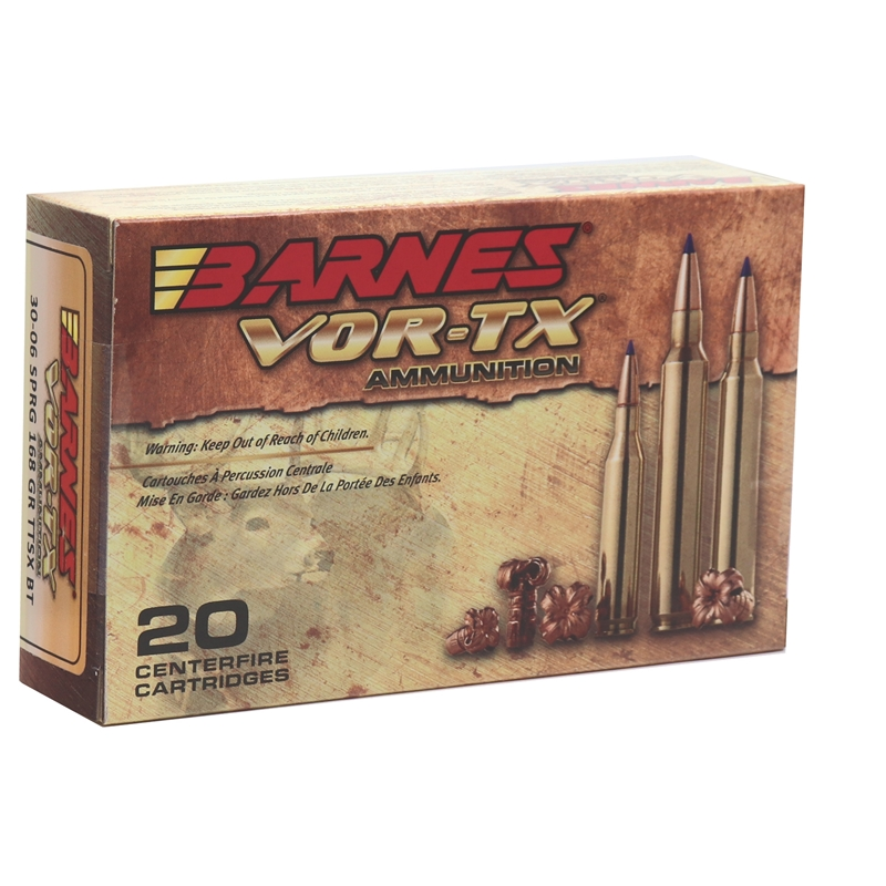 Barnes VOR-TX 30-06 Springfield Ammo 168 Grain TTSX Polymer Tipped Spitzer Boat Tail Lead-Free