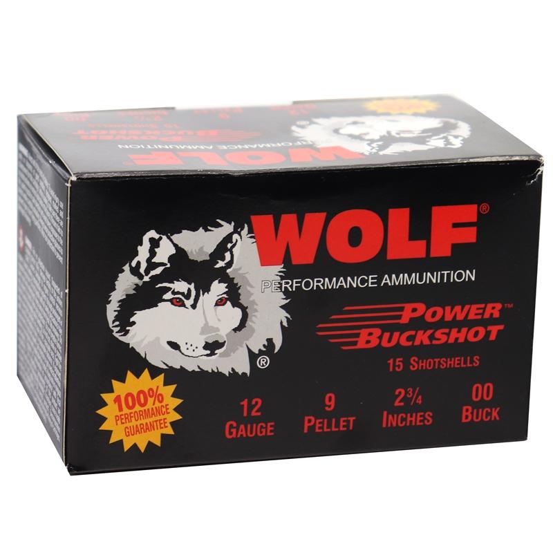 "Wolf 12 Gauge Ammo 2 3/4"" 00 Power Buckshot 9 Pellets"