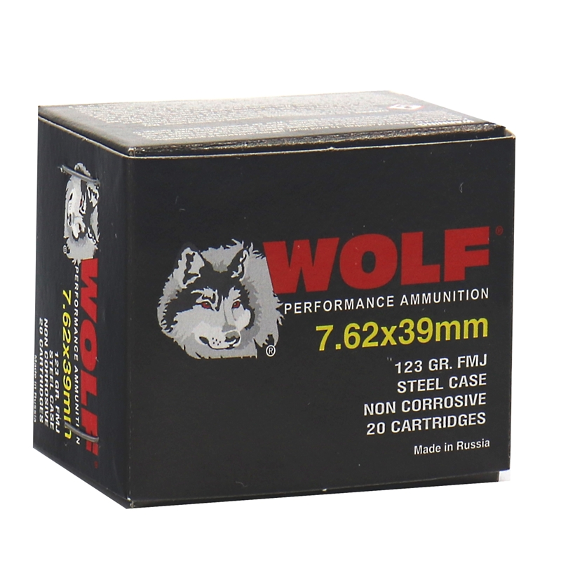 Wolf Performance 7.62x39mm Ammo 123 Grain FMJ Steel Case 1000 Rounds