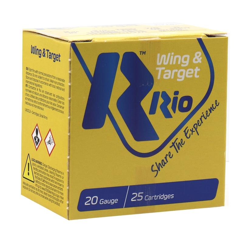 """Rio Wing & Target 20 Gauge Ammo 2-3/4"""" 7/8 oz #8 Dram Shot 250 Rounds"""