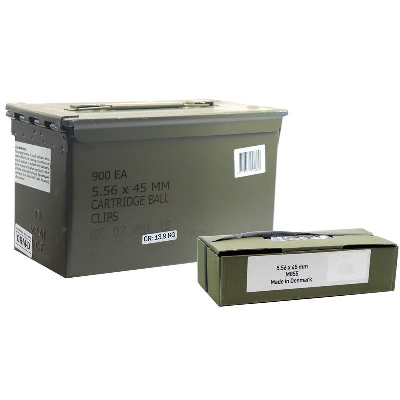 AMA Denex 5.56mm M855 Ammo 62 Grain FMJBT BXR 10 Round Stripper Clips 900 Rounds in Ammo Can