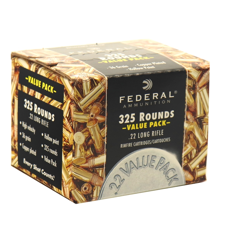 Federal 22 Long Rifle Ammo 36 Grain Copper Plated Hollow Point Value Pack 325 Rounds