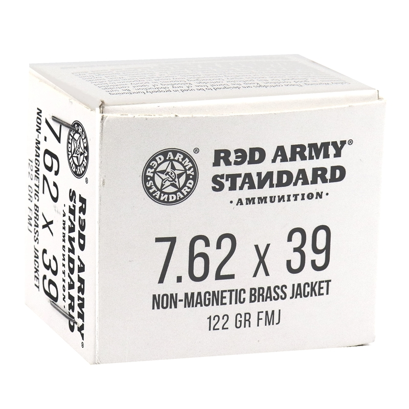 Red Army Standard 7.62x39mm Ammo 122 Grain FMJ Steel Case Non-Magnetic 1000 Rounds
