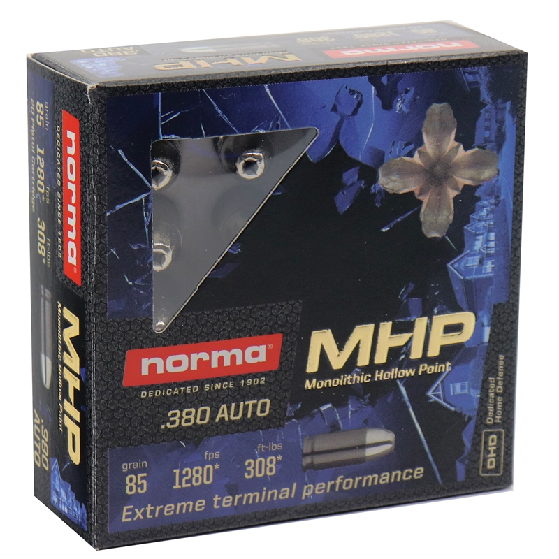 Norma 380 ACP Ammo 85 Grain Monolithic Hollow Point