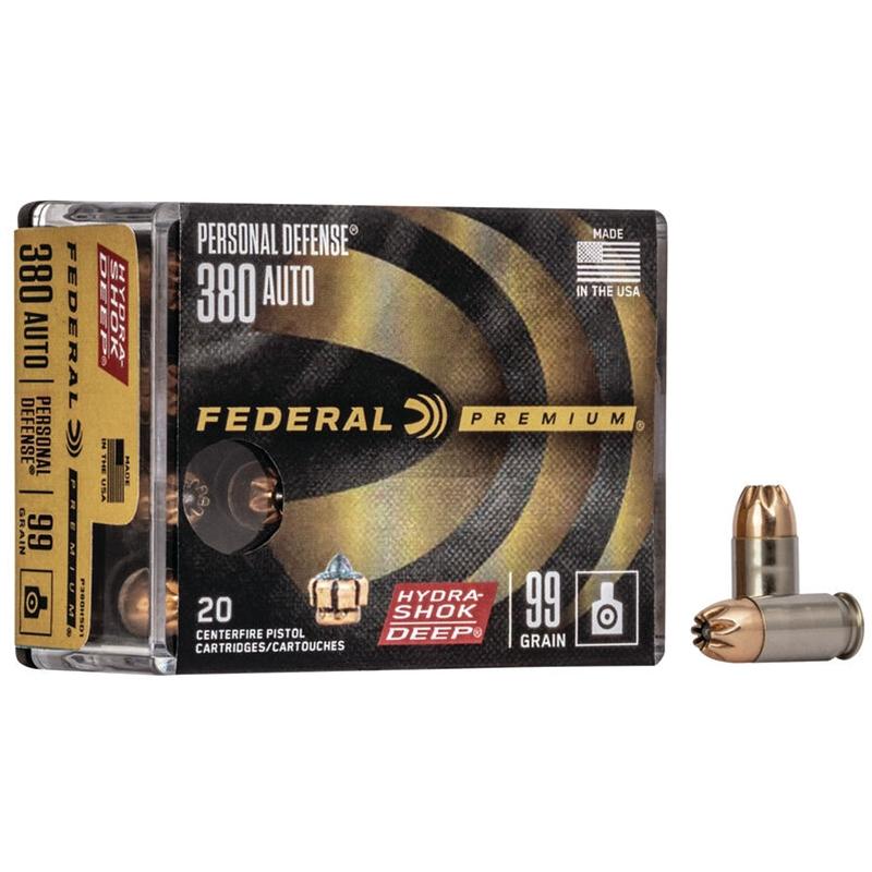 Federal Personal Defense Micro 380 ACP Auto Ammo 99 Grain Hydra-Shok Deep JHP