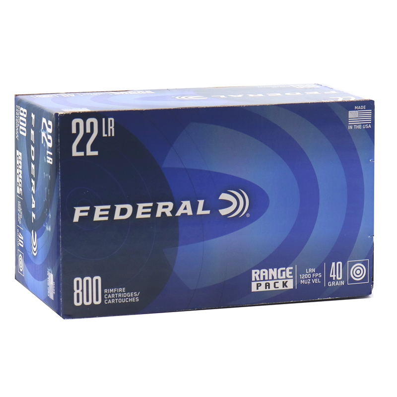 Federal 22 Long Rifle Ammo 40 Grain Lead Round Nose Range Pack 800 Rounds