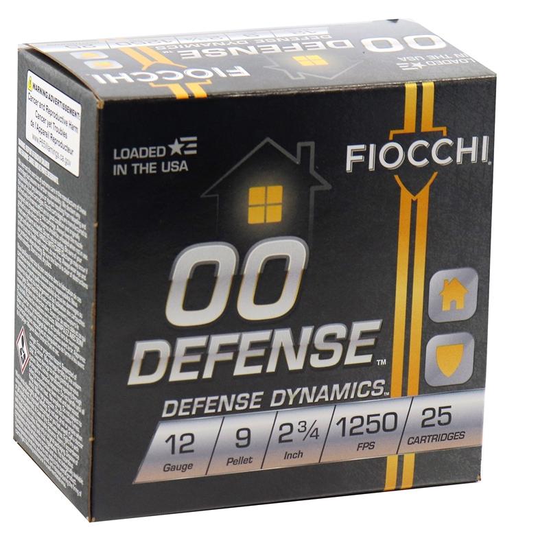 "Fiocchi Defense Dynamics 12 Gauge Ammo 2-3/4"" 9 Pellets 00 Buckshot"