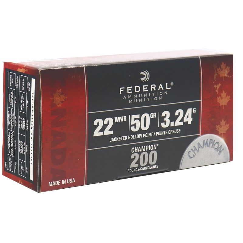 Federal Champion 22 WMR Ammo 50 Grain Jacketed Hollow Point Pack of 200