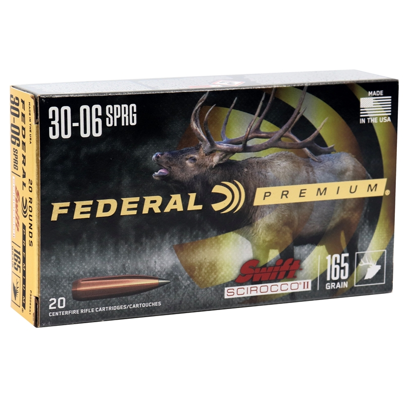 Federal Premium 30-06 Springfield Ammo 165 Grain Swift Scirocco II