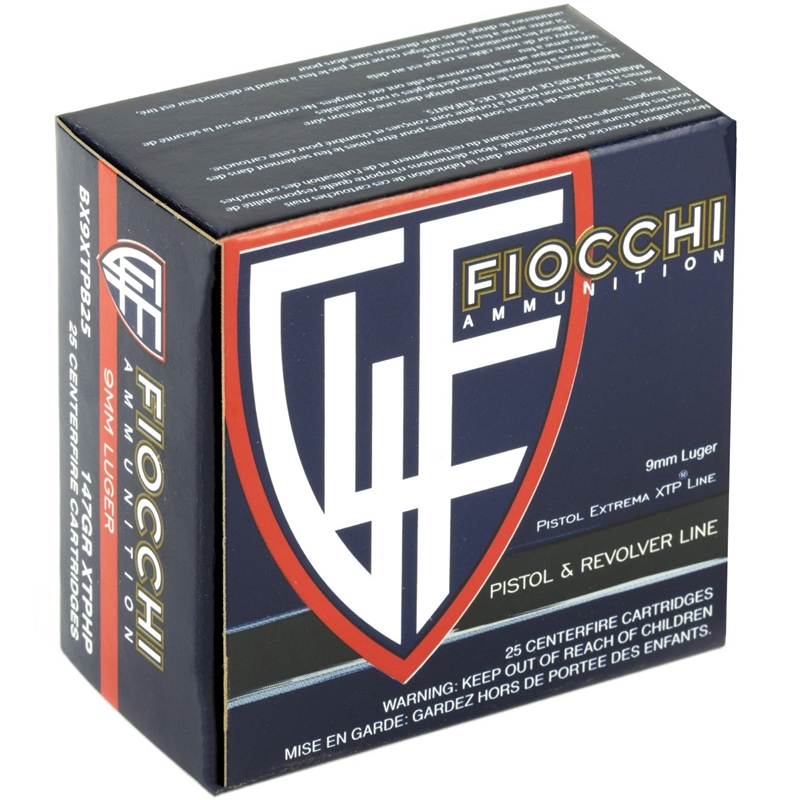 Fiocchi Extrema 9mm Luger Ammo 147 Grain XTP Jacketed Hollow Point