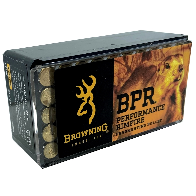 Browning BPR 22 Long Rifle Ammo 37 Grain Fragmenting Hollow Point