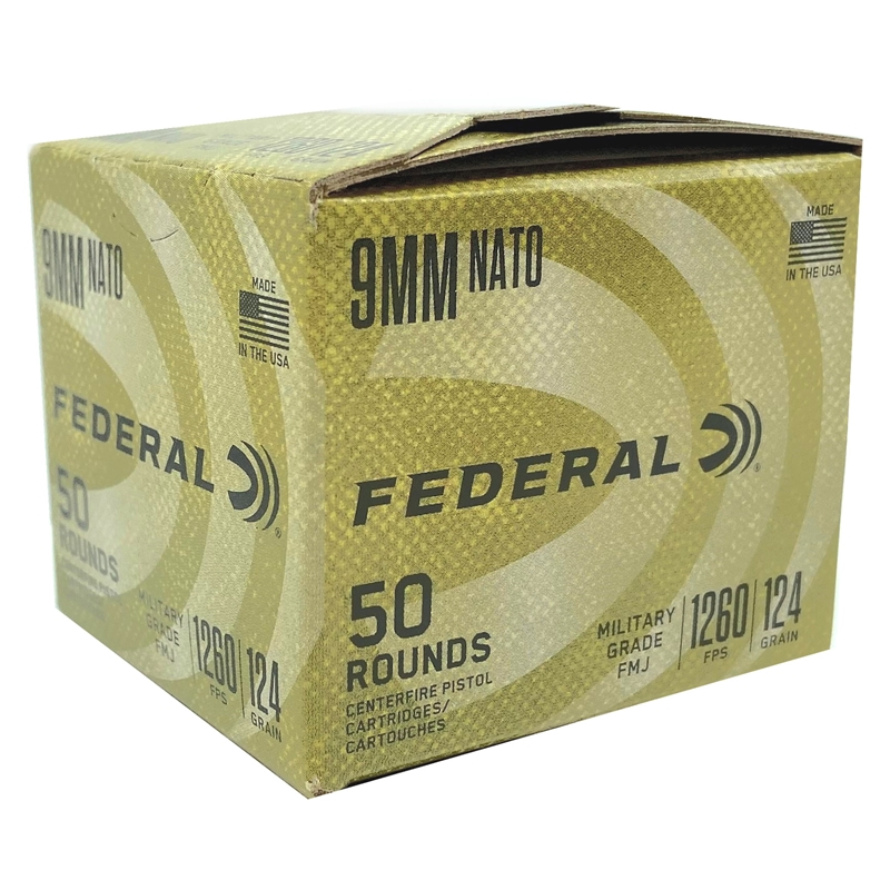 Federal Military Grade 9mm NATO Ammo 124 Grain Full Metal Jacket