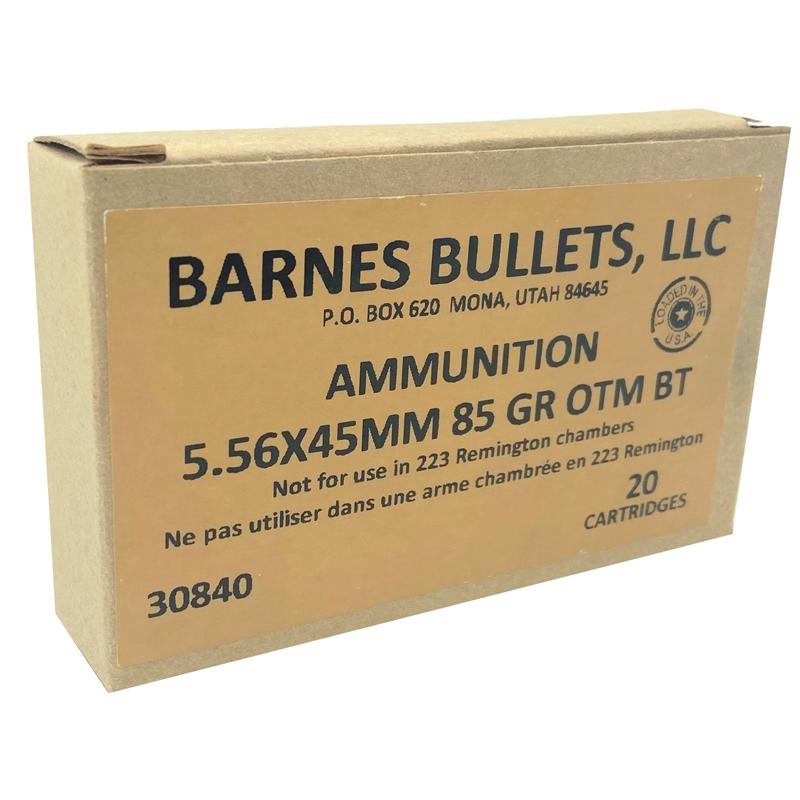Barnes 5.56x45mm Ammo NATO 85 Grain Open-Tip Match BT