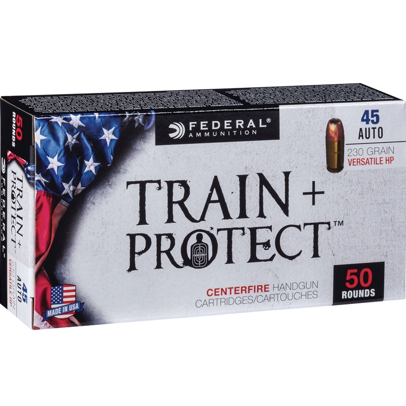 Federal Train and Protect 45 ACP Ammo 230 Grain Versatile Hollow Point